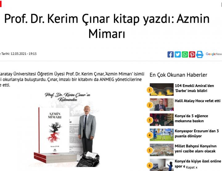 Prof. Dr. Kerim Çınar kitap yazdı: Azmin Mimarı